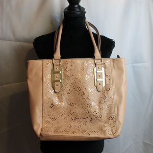 Apt9 Gold tone and tan large bucket bag